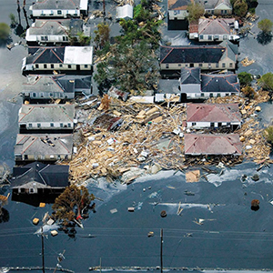 Homes damages in hurricane